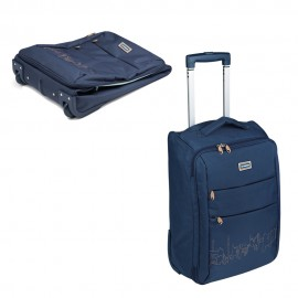 Valise pliable bleu/beige
