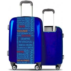 Valise rigide bleue tour du monde